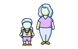 Illustration of a child standing next to his parent.