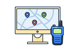 Illustration of computer monitor with live school bus data and a dispatcher's walkie talkie.